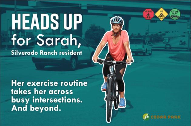 Heads Up Sarah is Biking Photo
