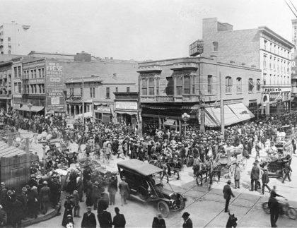 Crowded Street in 1910 LA